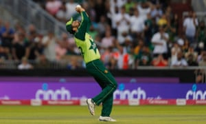 Pakistan's Sohaib Marqsood catches out England's Jonny Bairstow.