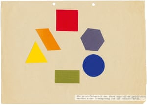 Bella Ullmann: Attempt at a Colour Scheme for Secondary Forms, 1931. Starting from the arrangement of basic forms and basic colours, as Kandinsky himself maintained, an attempt was made to find corresponding colours for intermediate forms, resulting in a sort of 'Colour and Form Circle'