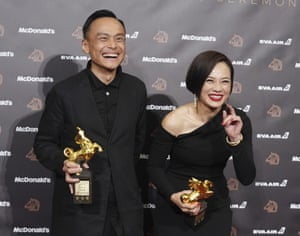 Malaysian actor Yeo Yann-yann, right, who won best actress for Wet Season, with Chen Yi-wen, who won best actor for A Sun.