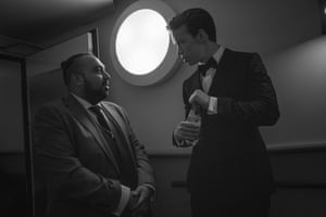 Asim Chaudhry, known for his comedy character Chabuddy G, talking to Will Poulter
