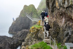 Hard hats are obligatory on the Gobbins cliff path, due to the risk of falling rocks.