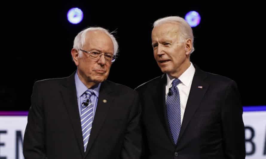 Sanders with Biden before the South Carolina primary debate in Charleston in February.