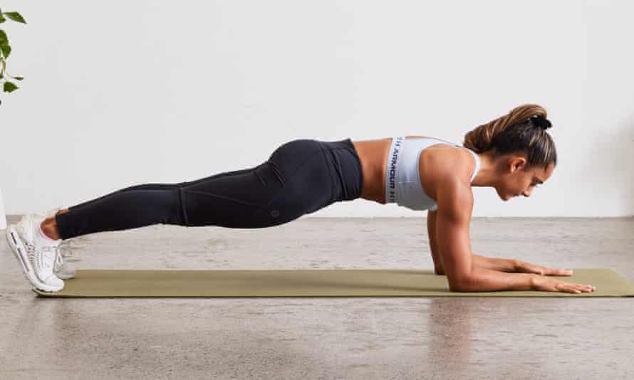 Shona Vertue in plank pose