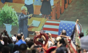Crowds watch Obama's eulogy for Lewis on a screen outside Ebenezer Baptist Church in Atlanta.