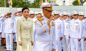Thailand's King Maha Vajiralongkorn and Queen Suthida leave after paying their respect at the statue of King Rama V