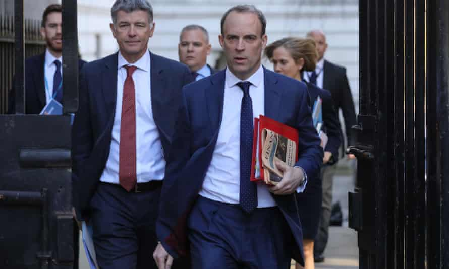 Dominic Raab arriving at 10 Downing Street
