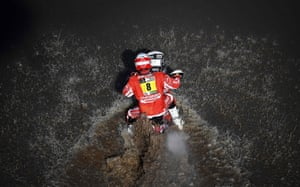 France's Adrien Van Beveren powers his Yamaha through the water during stage one of the Dakar rally between Asuncion and Resistencia, Argentina.