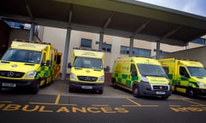 Ambulances outside North Middlesex University hospital's A&E department