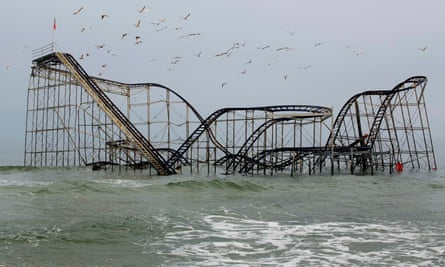 The remnants of the Jet Star roller coaster is pictured in the ocean, almost five months after Superstorm Sandy, in Seaside Heights, New Jersey March 21, 2013.