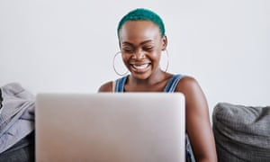 It's just so easy to stay connected these days<br>Shot of a young woman using a laptop at home