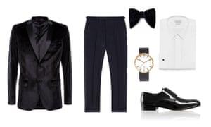 FormalVelvet blazer, £64.99, newlook.com, trousers £125, reiss.com, bow tie £22.99, and shirt, £29.99, both zara.com, watch £440, Bravur from matchesfashion.com, dress shoes £195, russellandbromley.co.uk