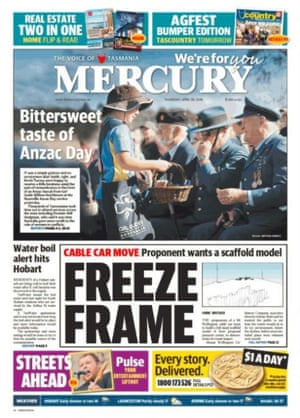 The Hobart Mercury front page 26 April 2018