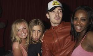 Emma Bunton, Melanie Blatt, Justin Timberlake and Shaznay Lewis attend the Rex Club Opening Night Party in 2003