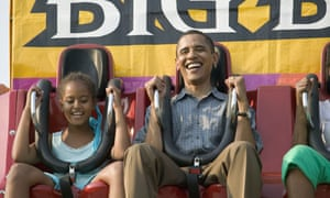 """President Obama taking ride on """"Big Ben"""" with his daughters at the Iowa State Fair"""