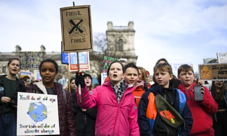 Children gather at Parliament Square, London, to protest against climate change in February 2020.