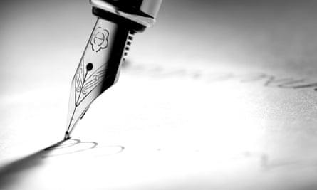 Pen nib on page