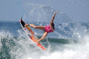 Courtney Conlogue of the US rides the wave before the start of the World Surf League women's championship tour surfing event at Keramas in Gianyar, Bali, Indonesia