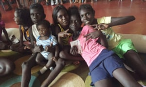 Children on Bathurst Island watch a documentary on rheumatic heart disease called Take Heart as part of an education campaign