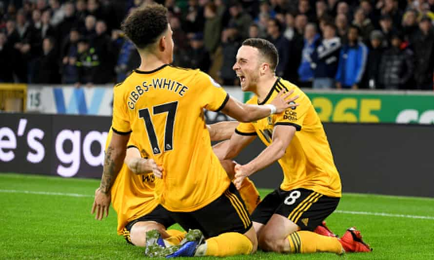 Diogo Jota and Wolves celebrate their second-half winner
