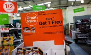 A buy one, get one free offer at Homebase store, Formby, Merseyside.
