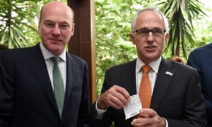 Trent Zimmerman and Malcolm Turnbull before the Melbourne cup in November.