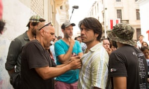 The shooting of La Hora Final, with the actor Pietro Sibille and director Eduardo Mendoza de Echave.