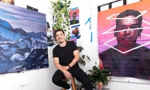 Australian artist Abdul Abdullah in the studio.