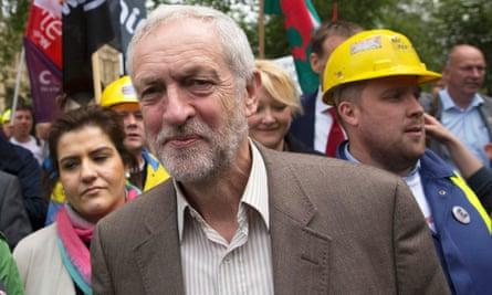 Jeremy Corbyn attends a demonstration by steel workers in London on Wednesday.