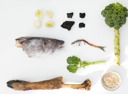 A fish head, a pig's trotter and other items that are normally overlooked in cookery, are arranged in an artful way.