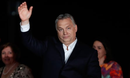 Hungary's Prime Minister Viktor Orbán greets supporters after being re-elected for a fourth term.