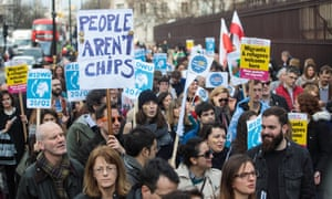 Protesters and migrant workers demonstrate outside parliament last month in a day of action in support of EU migrants living in Britain.