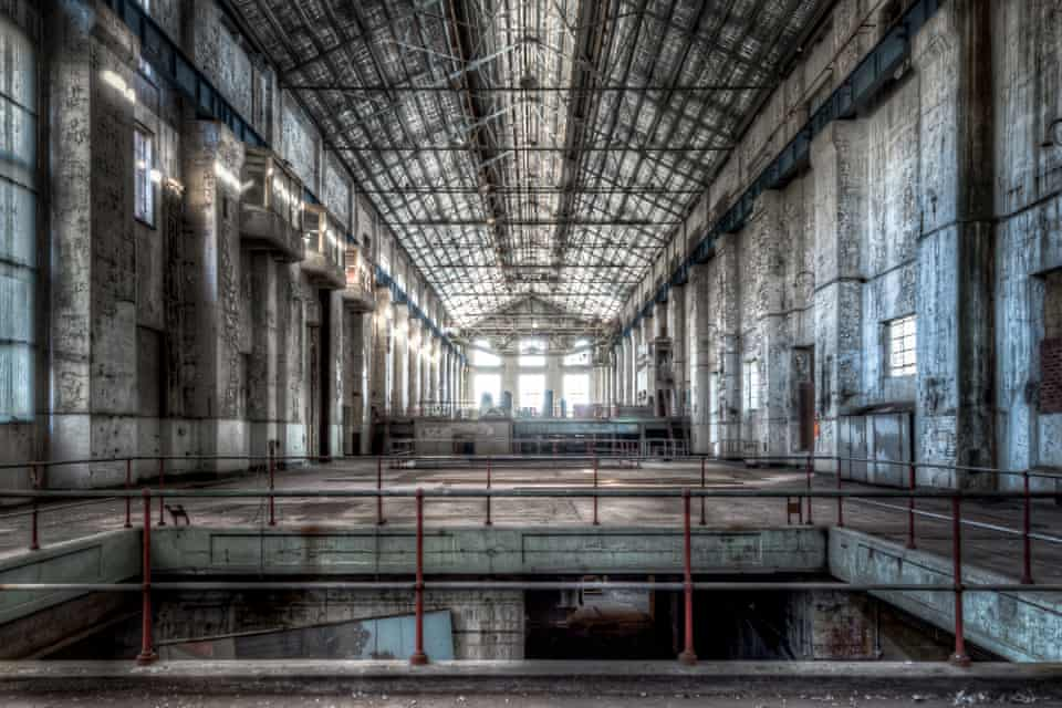 Looking over a void towards the northern end of the White Bay power station's turbine hall