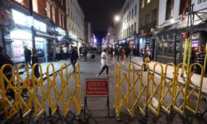 Old Compton Street in Soho, London, after pubs and restaurants close following the 10pm curfew.