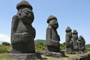 'Dol harubang', or grandfather stones, on Jeju. The South Korean island is hosting some of the matches of the Fifa U-20 World Cup
