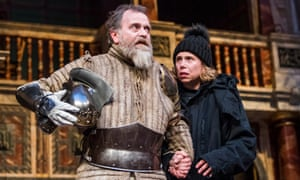Michelle Terry playing Hamlet alongside Colin Hurley's Ghost at Shakespeare's Globe.