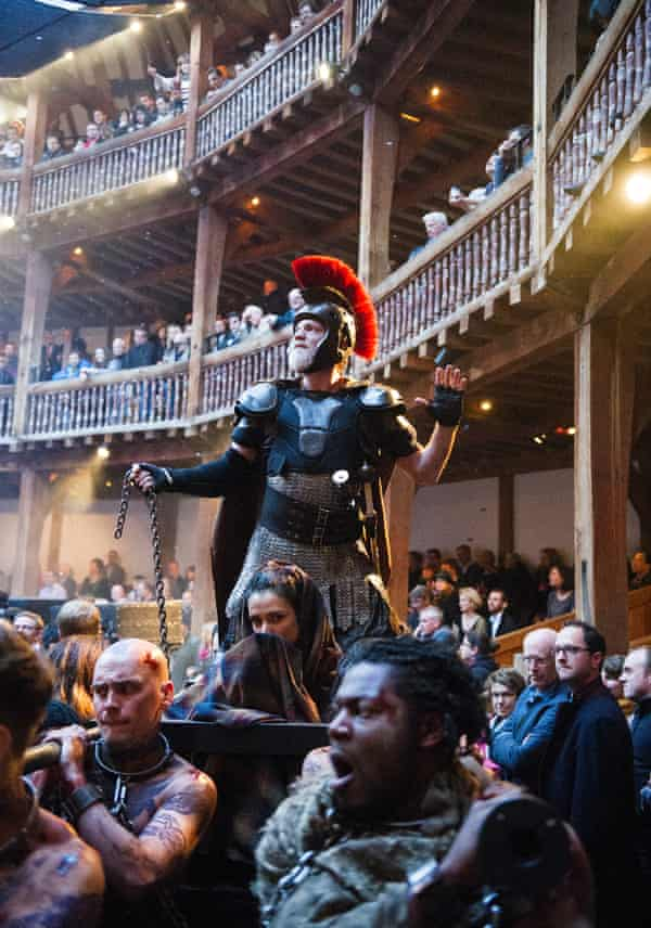 William Houston and Indira Varma in Titus Andronicus at Shakespeare's Globe in 2014.