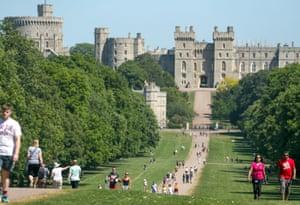 Windsor, Berkshire People visit the Long Walk at Windsor Castle