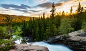 Sunrise over Alberta Falls in Rocky Mountain National Park, Colorado
