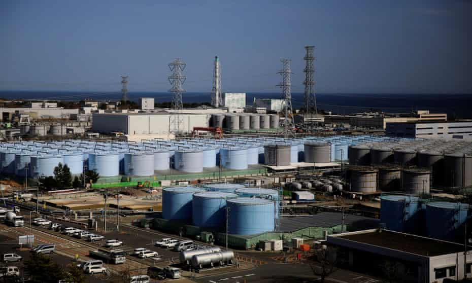 The storage tanks for treated water are seen at the tsunami-crippled Fukushima Daiichi nuclear power plant in Okuma town