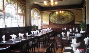 Dining room and stained glass, the Barton Arms, Birmingham