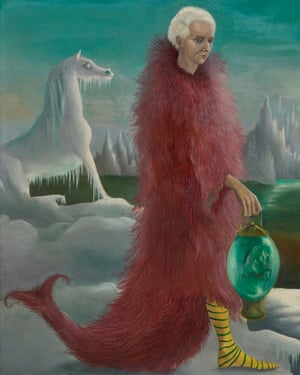 A detail from Leonora Carrington's Bird Superior: Portrait of Max Ernst (c1939).