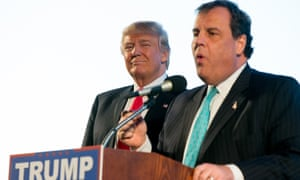 New Jersey Governor Chris Christie, right, introduces Republican presidential candidate Donald Trump, left, at a rally in Tennessee.
