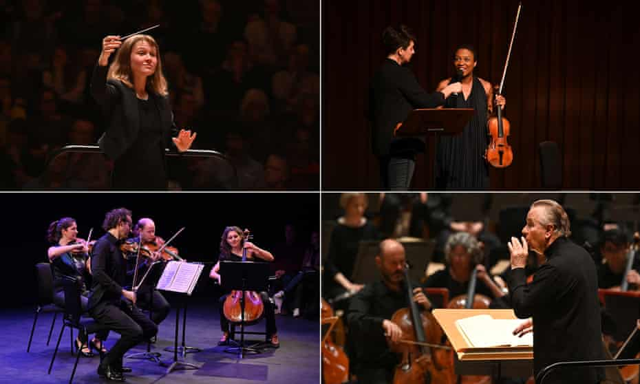 Clockwise from top left: Mirga Gražinytė-Tyla conducts the CBSO in Symphonies 2 & 4; Sarah Mohr-Pietsch puts a question to violinist Tai Murray; Mark Elder conducts the Hallé in Beethoven's Ninth; and the Carducci Quartet. Photographs: Mark Allan