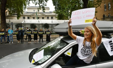 Women's rights protesters outside the Saudi embassy in London