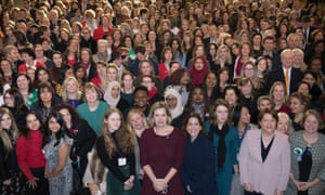 MPs including Amber Rudd (centre front) gather alongside aspiring women from their constituencies at Westminster
