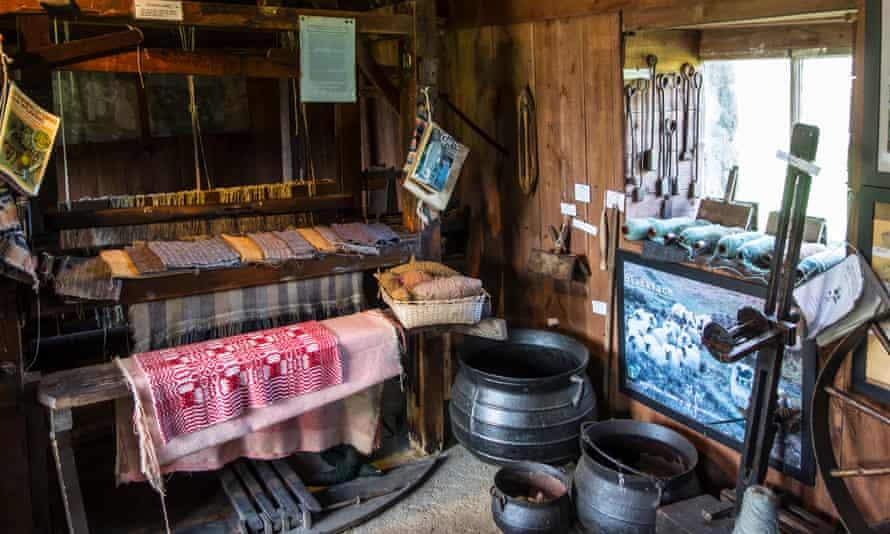 Wool-working instruments and old handloom in weaver's cottage at the Skye Museum of Island Life, Kilmuir, Isle of Skye, Scotland
