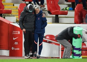 Tottenham manager Jose Mourinho and Liverpool manager Juergen Klopp before the match.