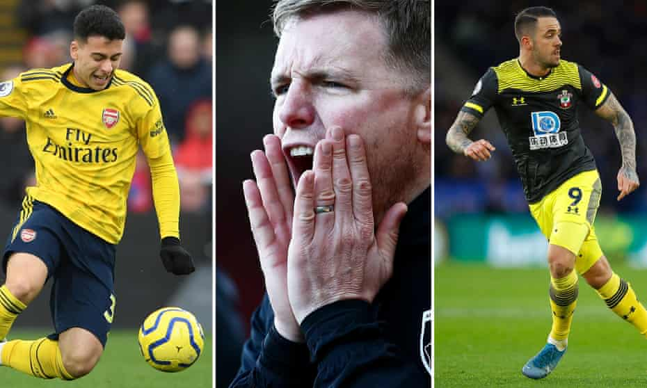 Gabriel Martinelli of Arsenal; Eddie Howe of Bournemouth; Danny Ings of Southampton.