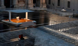 Pope Francis presides over a moment of prayer on the sagrato in an empty St Peter's Square.