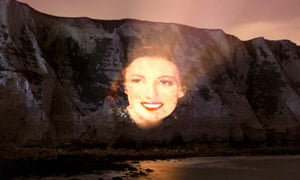 A portrait of Dame Vera Lynn projected onto the White Cliffs of Dover to celebrate Dame Vera's 100th birthday
